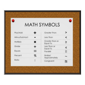 Posters de los símbolos de la matemáticas póster