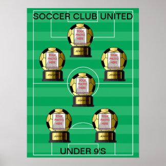 Posters de oro del equipo de fútbol de la foto