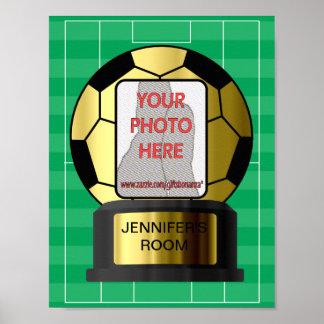 Posters de oro del sitio de balón de fútbol de la