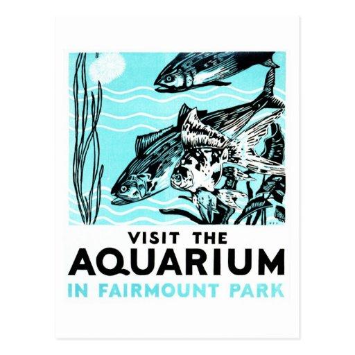 """Posters de WPA - """"visite el acuario en el par de Tarjetas Postales"""