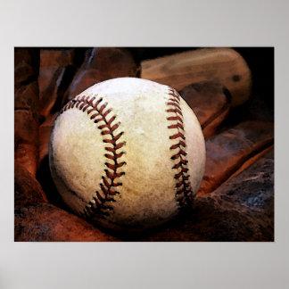 Posters del béisbol - guante y bola de béisbol