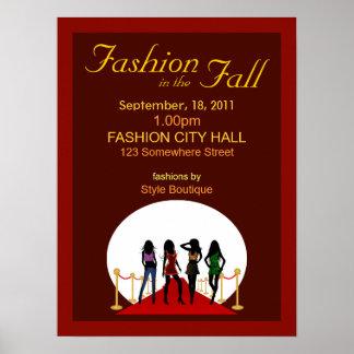 Posters del rojo del diseñador del desfile de moda póster