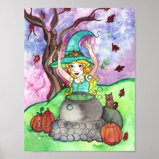 Posters del trabajo y de la bruja de Halloween del