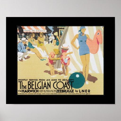 Posters del viaje del vintage - costa belga LNER