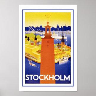 Posters del viaje del vintage de Estocolmo Suecia