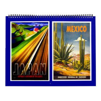 Posters del viaje del vintage del calendario