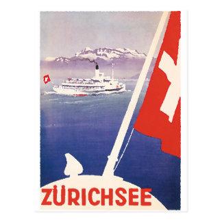 Posters del viaje del vintage: Lago Zurich Suiza Postales