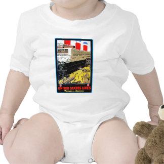 Posters del viaje del vintage: Líneas de Estados U Camiseta