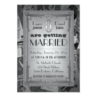 Posters del vintage del art déco que casan la comunicados personalizados