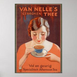 Posters del vintage té de consumición de la mujer