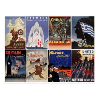posters del vintage WWII: unido somos fuertes Tarjeta Postal