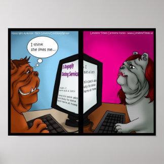 Posters divertidos de la datación en línea del dog