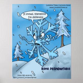 Posters divertidos del copo de nieve de Rene Desca