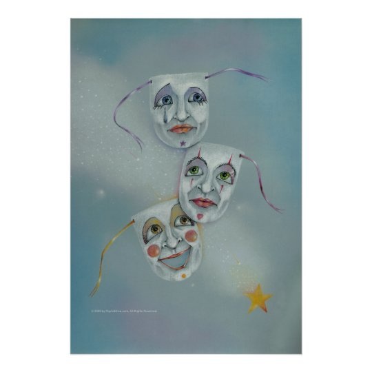 Posters, Fine Art - Happiness Tears Masks Poster