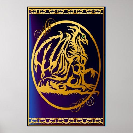 Posters grandes del dragón 1 del oro