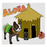 Posters hawaianos de Hula Tiki del dogo francés