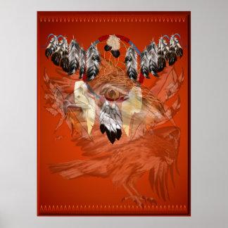 Posters ideales de la cara del halcón del colector