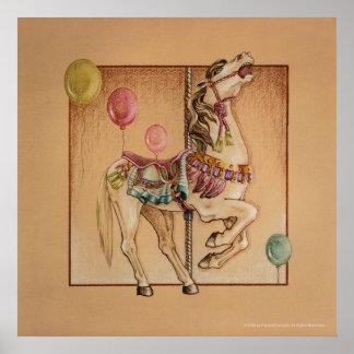 Posters impresiones - carrusel feliz del caballo