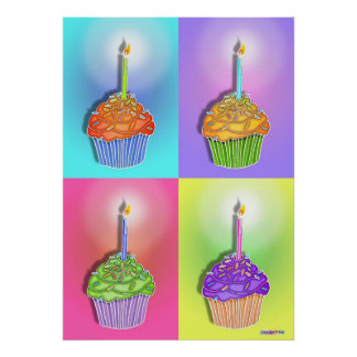 Posters, Prints - Birthday Cupcakes