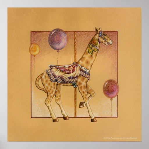 Posters, Prints - Carousel Giraffe