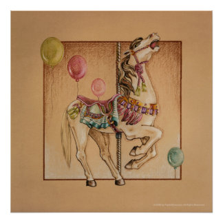 Posters, Prints - Happy Horse Carousel Poster