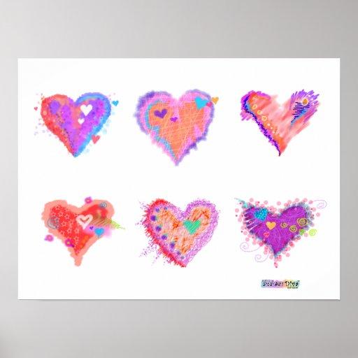 Posters, Prints - Pop Art Crazy Hearts 2