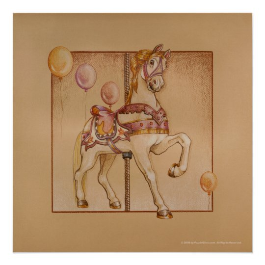 Posters, Prints - Purple Pony Carousel