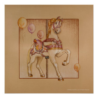 Posters, Prints - Purple Pony Carousel Poster