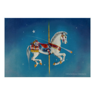 Posters, Prints - Red, White & Blue Carousel Horse Poster