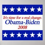 Posters reales de Obama Biden del cambio