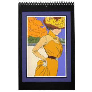 Posters retros de las imágenes del vintage del calendario de pared