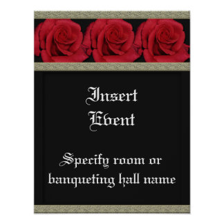 Posters template - customizable red roses