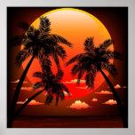 Posters tópicos calientes de la puesta del sol y d