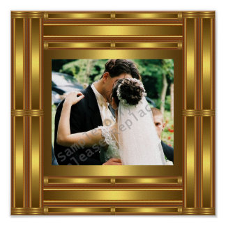 Posters Wedding Engagement Photo Gold Frame