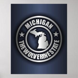 """Posters y impresiones de acero de """"Michigan"""" (azul"""