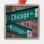 Postes indicadores de la avenida de Chicago y de Adorno Navideño Cuadrado De Metal
