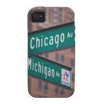Postes indicadores de la avenida de Chicago y de M iPhone 4/4S Fundas