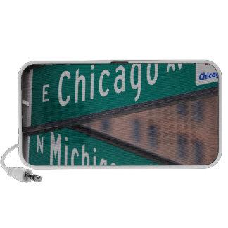 Postes indicadores de la avenida de Chicago y de M iPhone Altavoz