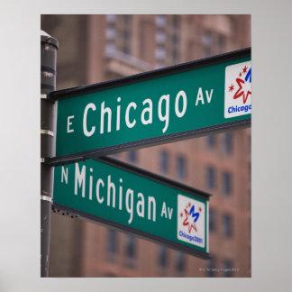 Postes indicadores de la avenida de Chicago y de M Póster