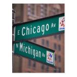 Postes indicadores de la avenida de Chicago y de Tarjeta Postal
