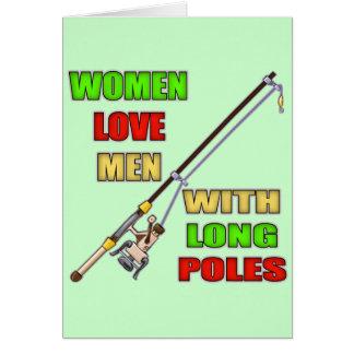 Postes largos que pescan las camisetas y los tarjeta de felicitación