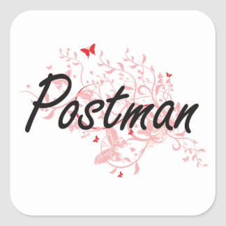 Postman Artistic Job Design with Butterflies Square Sticker