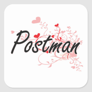 Postman Artistic Job Design with Hearts Square Sticker