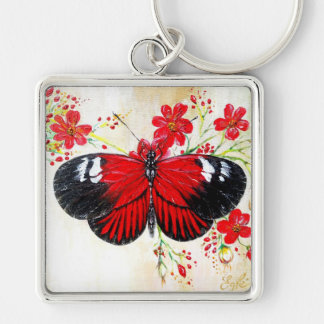 Postman Butterfly Silver-Colored Square Keychain