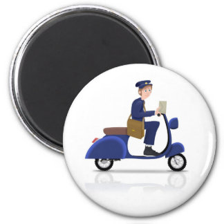 Postman on Scooter 2 Inch Round Magnet
