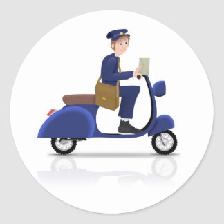 Postman on Scooter Classic Round Sticker