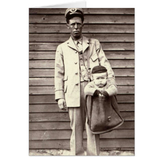 Postman with Baby in Mailbag Card