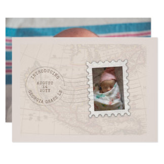 Postmark and Photo Stamp Travel Birth Announcement