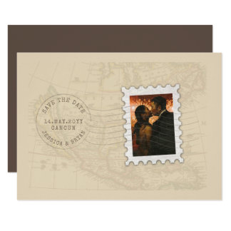 Postmark and Photo Stamp Travel Save the Date Card