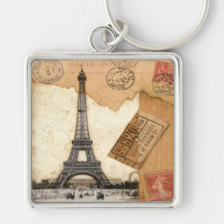 Postmark, Paris Silver-Colored Square Keychain